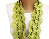 25% off---Hand Crocheted Scarf/Lariat in Pistachio Green