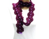 25% off---Hand Crocheted Scarf/Lariat in Dark Plum Purple