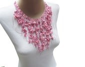 Crocheted Bib Style Necklace in Colorful  Pink