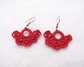 Romantic Hand Crocheted Lace Flower Earrings in Deep Red /Dark Coral