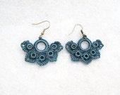 Romantic Hand Crocheted Lace Flower Earrings in Teal Blue