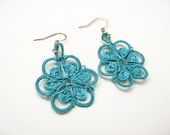 Tatted  Flower Earrings in Turquoise