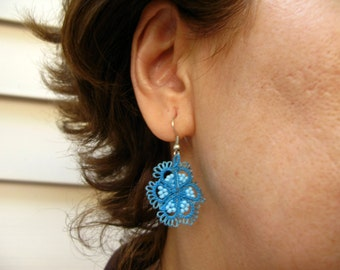Blue  Tatted  Flower Earrings with  Seed Beads Opaque Light Blue