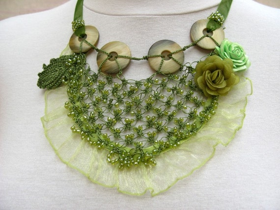 Bib Style Necklace with Crochet Lace, Vintage Buttons and Roses  (OOAK)