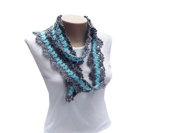 25% off---Gray and Aqua Blue  Crochet Scarf/Lariat