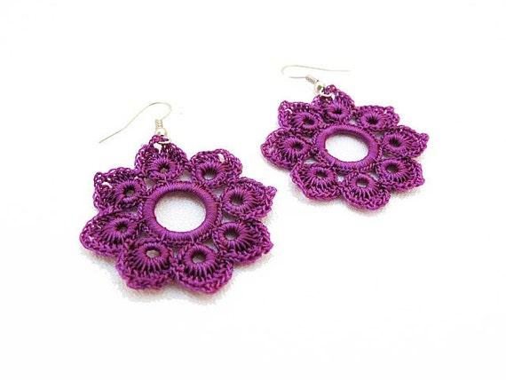 Romantic Hand Crocheted Lace Flower Earrings in Macenta Purple