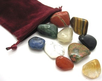 Beginner's Crystal Kit with Pouch, Crystal Healing, Rock Hound, Reiki, Wicca, Stones, Crystal Collection, Gemstones, Feng Shui,