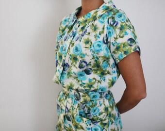 Vintage Floral Button Dress