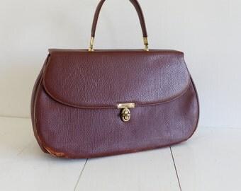 Vintage Brown Antique Leather Handbag