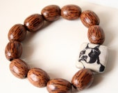Unisex Brown Wood Bead Eco Bracelet - Dog Photo - Pit Bull