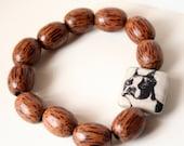 Unisex Brown Wood Bead Eco Bracelet - Dog Photo - Pit Bull