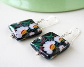 Daisy Floral Earrings, Boho Chic  Wood Eco Earrings, Square Earrings