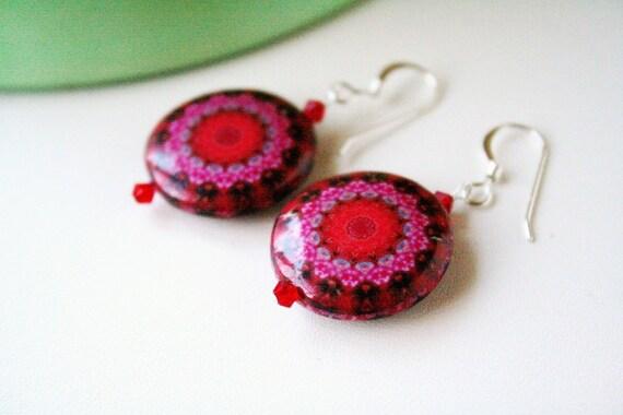 Gypsy Red Print Circle Wood Bohemian Eco Earrings