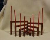 Wood Christmas Candleholder Jewish Menorah 9 arms