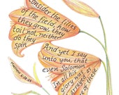 Lilies, Bible Verse art print, scripture design, hand lettered typography, wall art decor