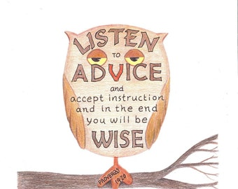 Inspirational Art Print Wise Owl Bible Verse