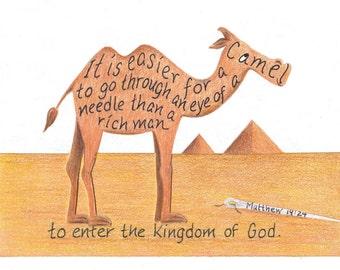Camel bible verse inspirational print