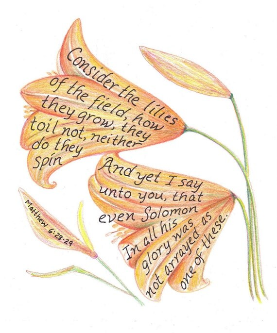 Lilies, Bible Verse art print, scripture design, hand lettered typography, wall art decor