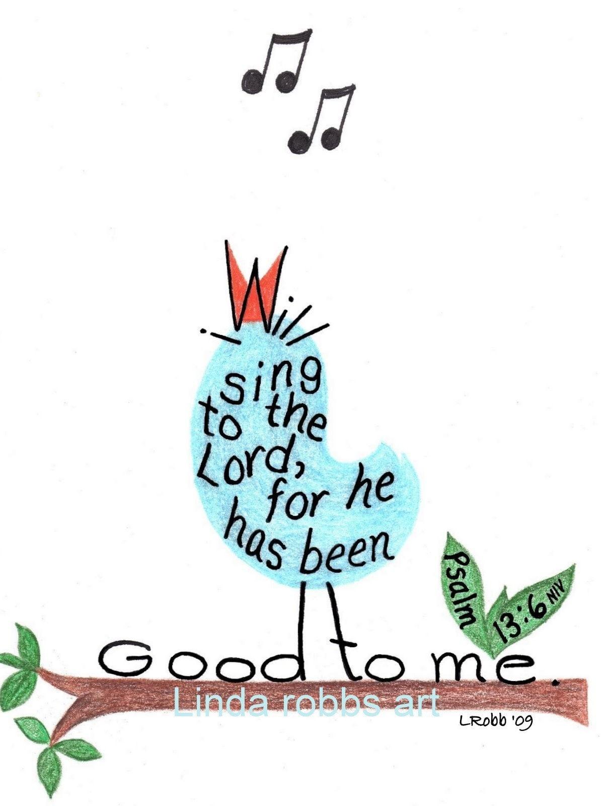 Bible Verse Print Singing Bird Inspirational Drawing