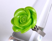 Cocktail Lime rosebud adjustable Ring READY to ship (257)