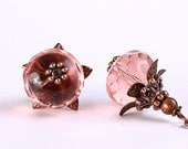 Light pink Czech glass rondelle with antiqued copper earrings READY to ship (239) - Free shipping
