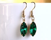 Estate style Emerald green navette glass surgical steel hypoallergenic earrings READY to ship (391) - Flat rate shipping