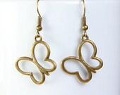 Butterfly dangle antique brass earrings lead free nickel free (480) - Flat rate shipping