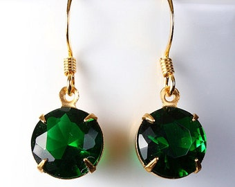 Estate style green glass earrings READY to Ship (208) - Flat rate shipping