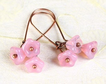 Handmade Milky pink Czech bell flower floral copper dangle earrings (373) - Flat rate shipping