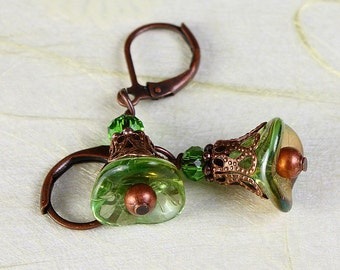 Chrysolite green Czech trumpet bell flower antique copper earrings (366) - Flat rate shipping