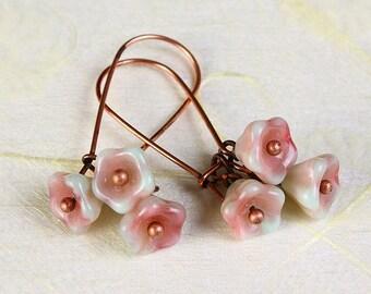 Handmade Pistachio pink green Czech bell flower floral dangle earrings READY to ship (365) - Flat rate shipping