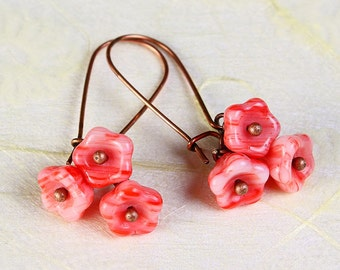Handmade marachino pink Czech bell flower floral dangle earrings READY to ship (361) - Flat rate shipping