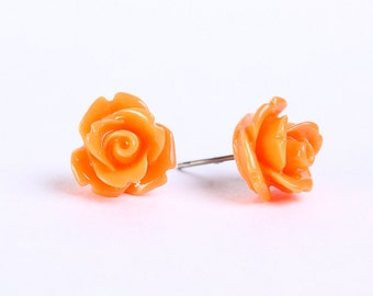 Pumpkin orange rosebud flower surgical steel hypoallergenic stud earrings READY to ship (452) - Flat rate shipping