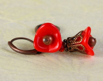Red Czech trumpet bell flower antique copper leverback earrings (369) - Flat rate shipping