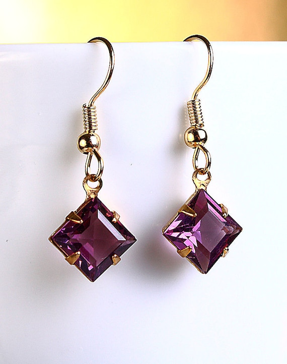 Estate style Amethyst purple square glass stones hypoallergenic dangle earrings (418) - Flat rate shipping