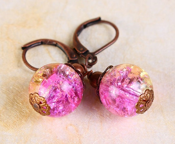 Pink yellow mix color crackle glass antique copper leverback earrings (381)