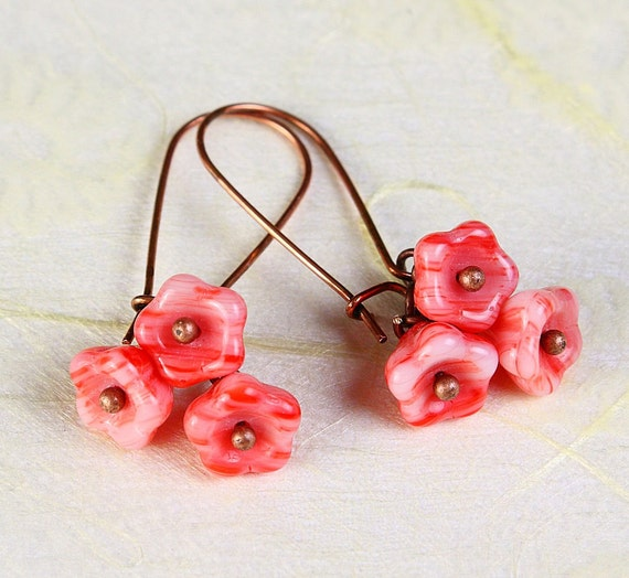 Handmade marachino pink Czech bell flower floral dangle earrings READY to ship (361)