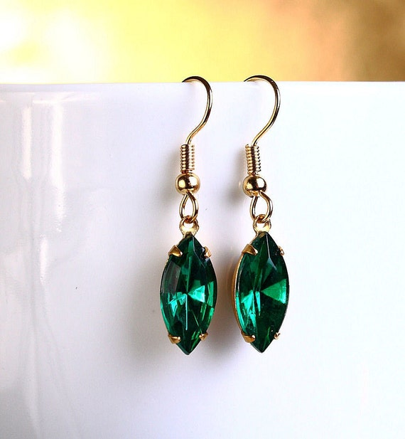 Estate style Emerald green navette glass surgical steel hypoallergenic earrings READY to ship (391)