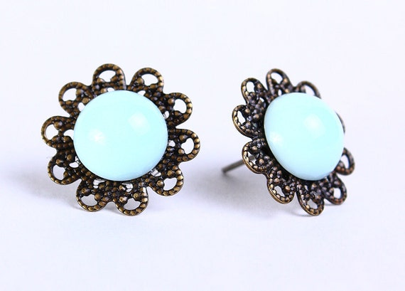 Vintage brass baby blue hypoallergenic surgical steel post earrings (465) - Flat rate shipping