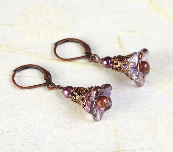 Copper amethyst glass trumpet bell flower and antique copper earrings READY to ship (422) - Flat rate shipping