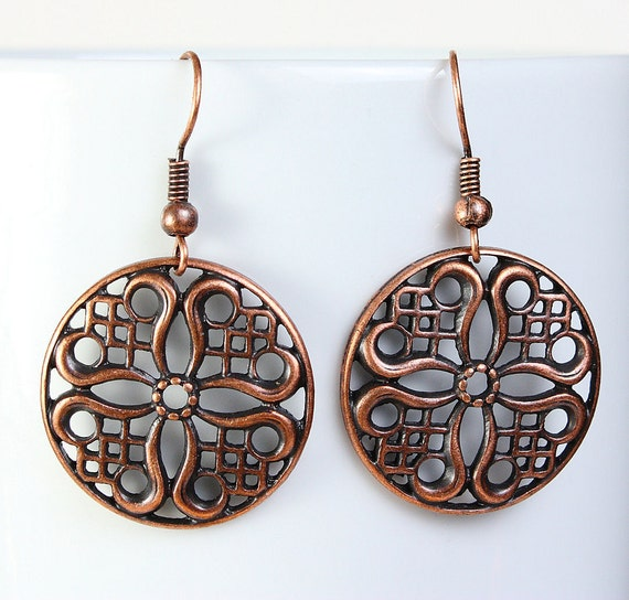 Filigree round dangle antique copper earrings lead free nickel free (481) - Flat rate shipping