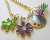 Hand Stamped Personalized FLOWER POWER Necklace for Children