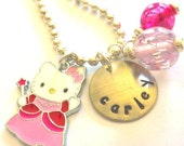 Personalized Necklace HELLO KITTY Fairy PRINCESS Hand Stamped Jewelry