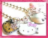 Hello Kitty Necklace - Personalized Hand Stamped  BITTY KITTY  Charm Necklace