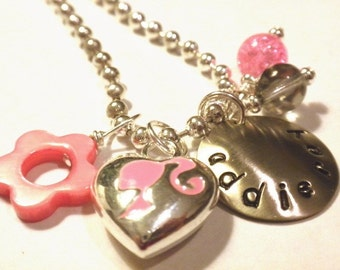 Hand Stamped Necklace for Children  PINK VINTAGE BARBIE Personalized Charm