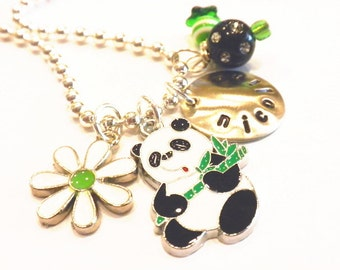Panda Hand Stamped Necklace - Personalized Charm Necklace for Children