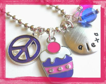 Hand Stamped Necklace Personalized PURPLE CUPCAKE Necklace #sw79