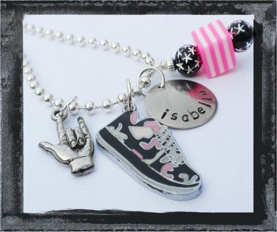 Hand Stamped Cool Sneaker Charmer Necklace
