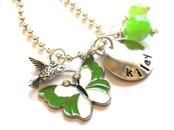 Hand Stamped Personalized Necklace - Custom Green Butterfly Charmer