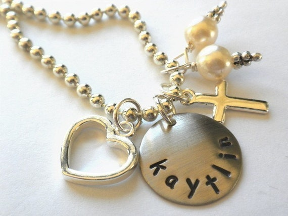 Flower Girl Necklace Hand Stamped Charm Necklace Personalized for your FLOWER GIRL